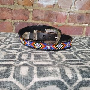 Vintage southwestern leather beaded belt